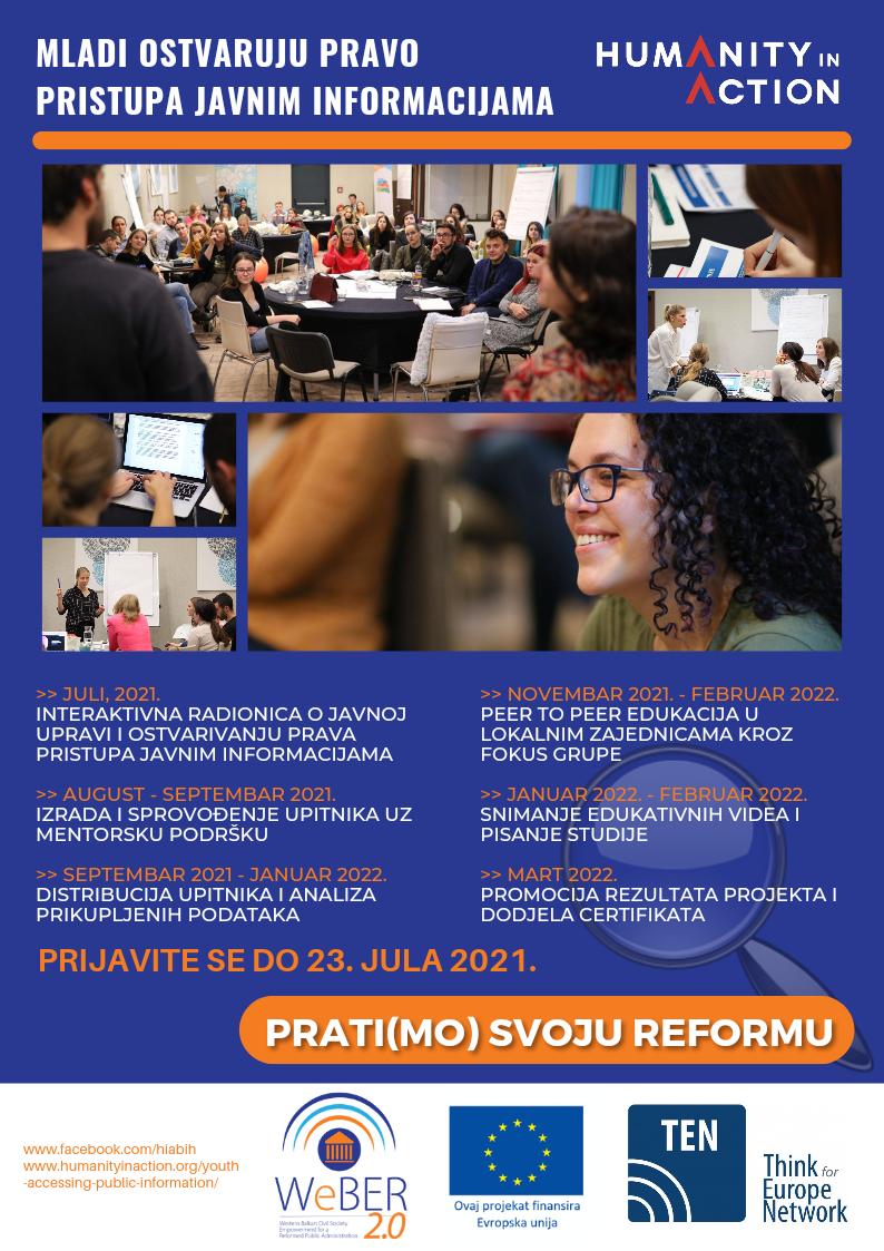 """Poziv Za Dostavljanje Prijava Za Učešće U Projektu """"Mladi Ostvaruju Pravo Pristupa Javnim Informacijama"""""""